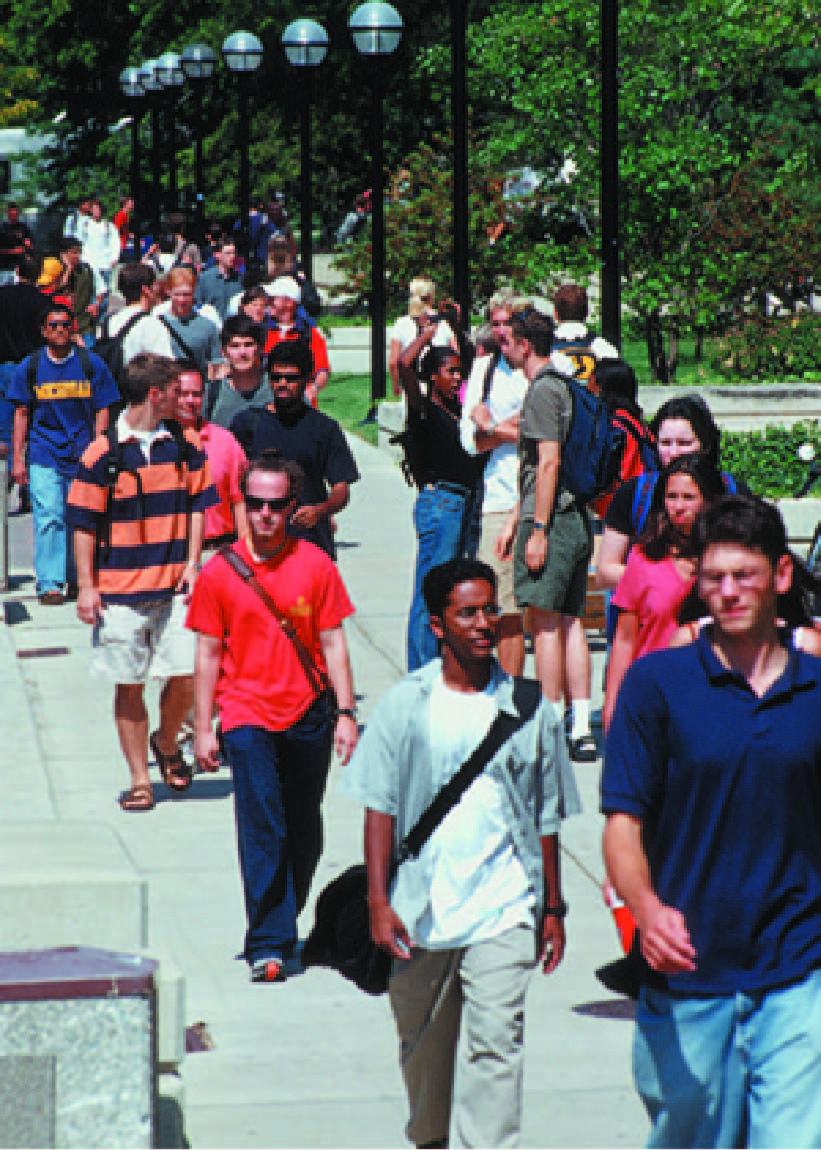 Students walking in the Diag