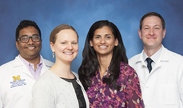 L TO R: GURJIT SANDHU, LISA LEININGER, RISHINDRA REDDY, & DAVID HUGHES  (Surgery, Medical School)