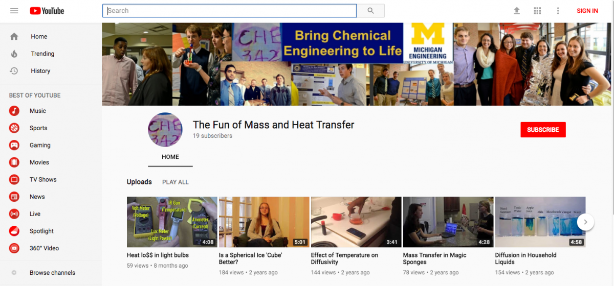 "Screenshot of ""The Fund of Mass and Heat Transfer"" YouTube channel"