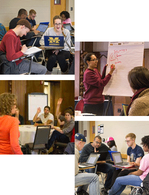 Collage of pictures showing students working in groups, raising their hands, and writing on flipchart paper