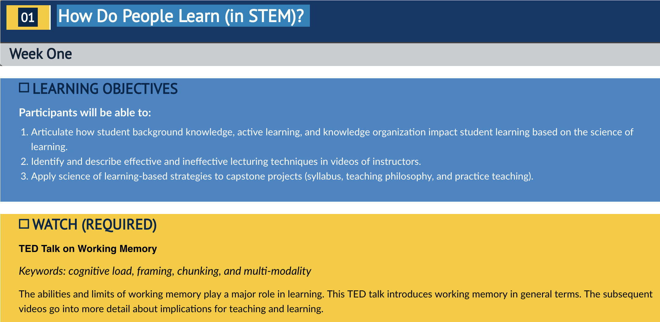 "U-M Canvas website featuring the Postdoctoral Short-Course page ""EXAMINE: How Do People Learn [in STEM]?"""