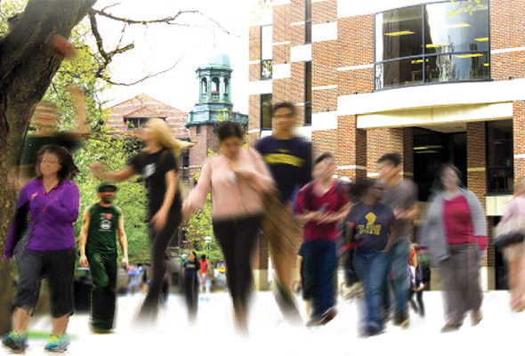 composite photo of people walking in front of the Shapiro Undergraduate Library