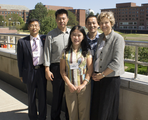 Group photo of Dr. Guangbin Lin, Dr. Junqi Wu, Ms. Yi Zhang, Dr. Lin Zhang, and Dr. Connie Cook